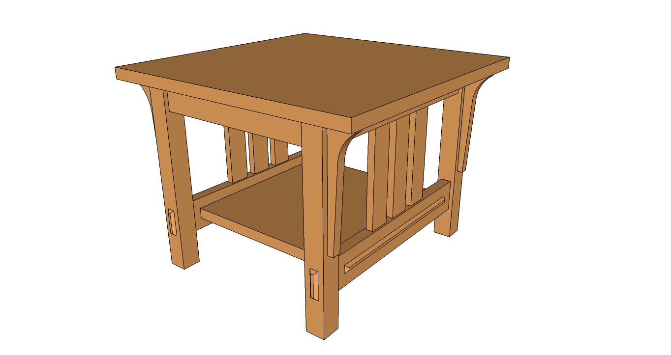 End table arts and crafts style sketchup model and pdf for Side table design